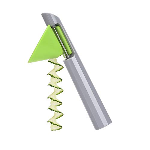 CNmuca Utensílios de cozinha multifuncionais Práticos Ralador de descascador de vegetais Cortador portátil durável destacável com modelador cinza + verde