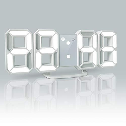 YABAE デジタル時計 LEDデジタル 目覚まし時計 時計 壁掛け 3D led wall clock 置き時計 置時計 おしゃれ 多機能 明るさ調整 スヌーズ アラーム クロック 12H/24H時間表示 立体 卓上 ACアダプター付属 ホワイト AL-