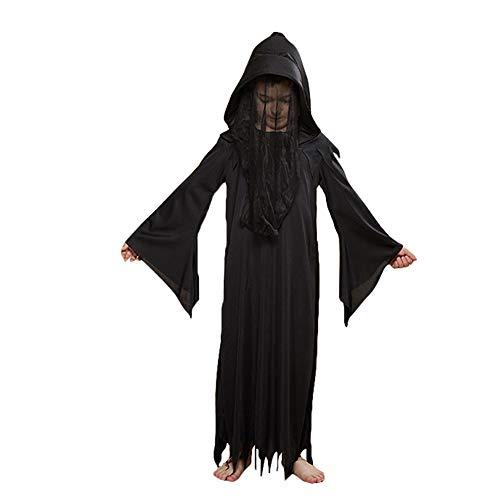 LJLis Halloween Kostüm Dunkle Deluxe Phantom Kostüm Wenig Männliche Geist Halloween Party Spielt Kostüm (8-10 Jahre),B