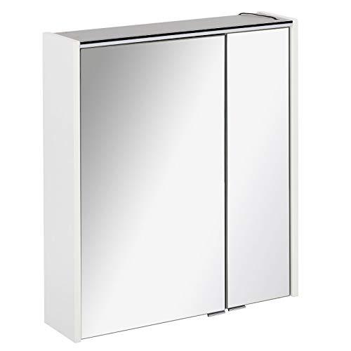 FACKELMANN tweedeurs spiegelkast badkamer LED-verlichting 60 cm wit mat Denver