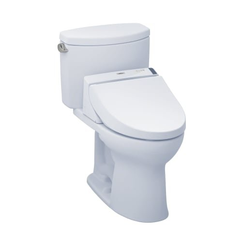 TOTO MW4542044CEFG#01 WASHLET+ Drake II Two-Piece Elongated 1.28 GPF Toilet and WASHLET C200 Bidet Seat, Cotton White