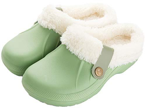 ChayChax Waterproof Slippers Women Men Fur Lined Clogs Winter Garden Shoes Warm House Slippers Indoor Outdoor Mules Green