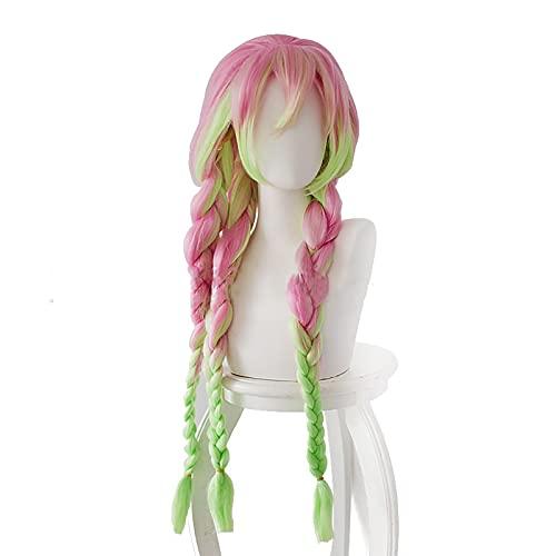 HUAFUJI Twist Braida Larga con Pelucas de Flequillo, Peluca sintética de Color Rosa Ombre Green Modeling Resistente al Calor, para el Anime Diario Cosplay Party