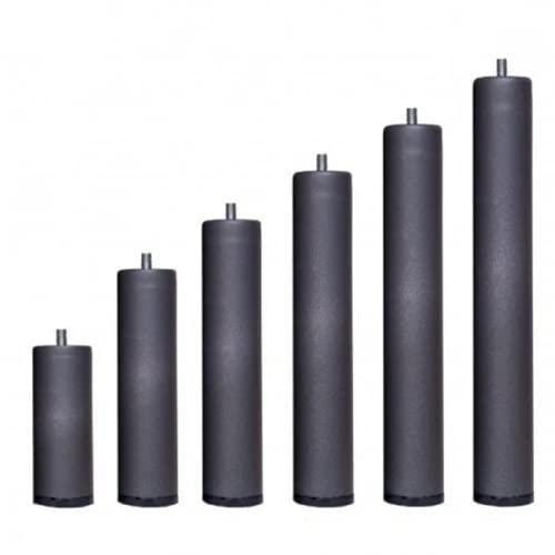 Pack 6 Patas cilíndricas METALICAS Altura Especial, ANTIRUIDO para Base TAPIZADA o SOMIER. Montaje rápido y fácil… (40 cm)