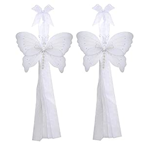 Butterfly Curtain Tiebacks White Silver Crystal Nylon Butterflies Pair Set Decorations Window Treatment Holdback Sheer Drapes Holder Drapery Tie Back Decorate Baby Nursery Bedroom Girl Room Kids Decor