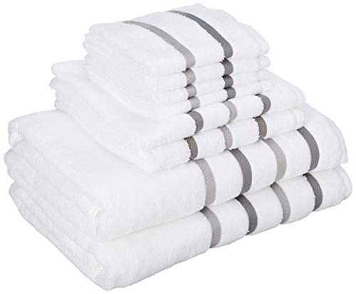 Comfort Spaces Cotton 8 Piece Bath Towel Set Striped Ultra Soft Hotel Quality Quick Dry Absorbent Bathroom Shower Hand Face Washcloths, 28x54, Charcoal