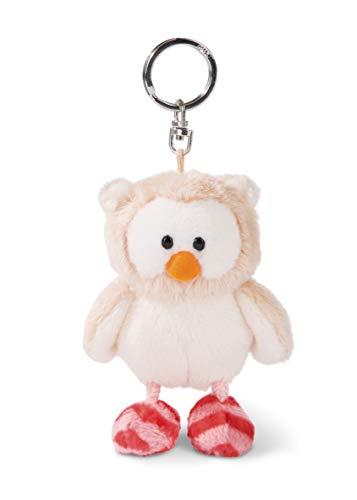 NICI 46094 Eule Owluna 10cm Schlüsselanhänger, Kopf drehbar, Flauschiges Plüschtier mit Schlüsselring, beige/pink