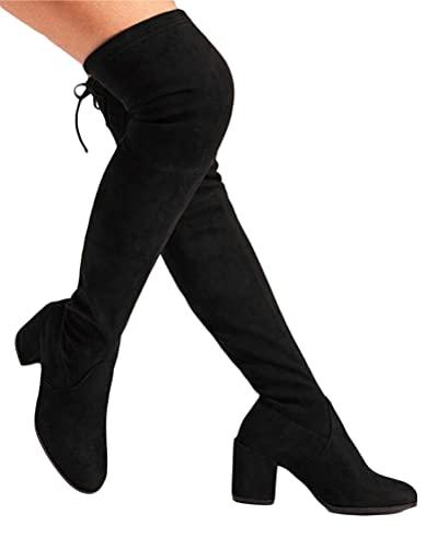 Minetom Damen Hohe Stiefel Winter Schuhe mit Absatz Langschaft Overknee Stiefel Kniehohe Blockabsatz High Heels Lang Boots Schwarz 38 EU