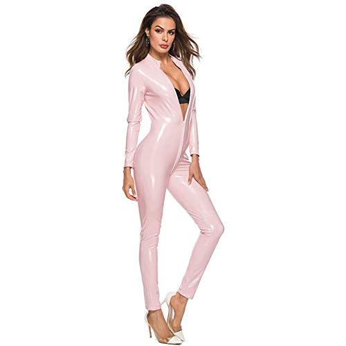 Shhyy Disfraz Catsuit para Mujer Jumpsuit Piel de Modelo Brillante Mono Patentar Cuero Apariencia mojada Traje Catwomen Partido Cosplay Carnavales Ideal para Amante Regalo,Rosado,XXXL