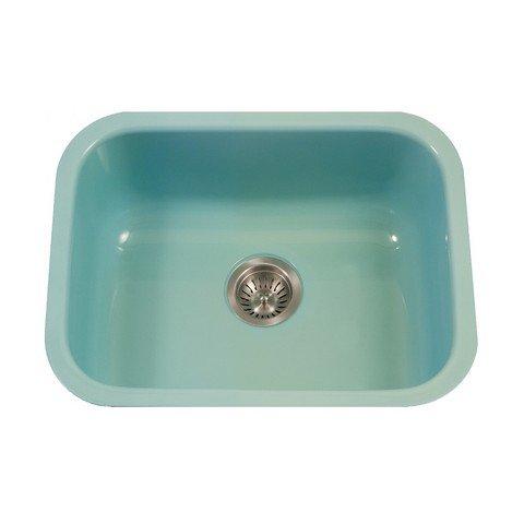 Houzer PCS-2500 WH Porcela Undermount Rectangular Single Bowl Kitchen Sink