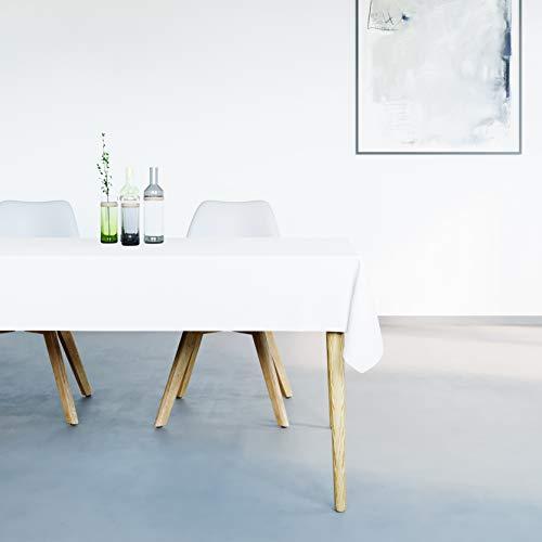 Mistral Home Mantel Antimanchas Rectangular Blanco – 150 x 250 cm – Mantel de Mesa Combinación de Algodón y Poliéster – Lavable en Lavadora – Protección Moderna para su Mesa