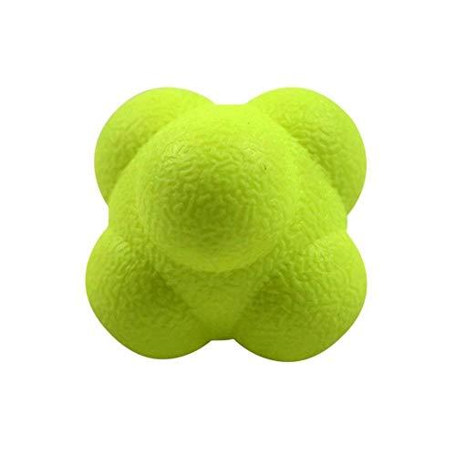 Naisicatar Pelota de reacción Rapidez y Agilidad Entrenador Bola Hexagonal TPR Velocidad de la Bola de Entrenamiento, Amarillo, Una Talla