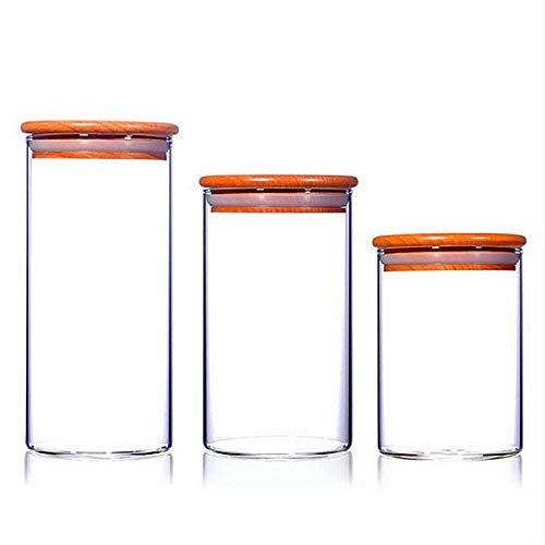 Tarro De Vidrio Sellado Tarro De Almacenamiento De Madera De Bambú Tarro De Miel Roscado Lata De Té Transparente Almacenamiento De Cocina (95X180)