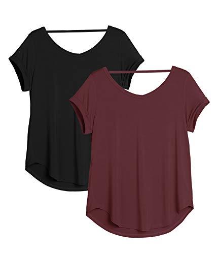 icyzone Damen Rückenfrei Yoga T-Shirt Kurzarm Sport Freizeit Tops Lose lässiges V-Ausschnitt Shirt, 2er Pack (L, Schwarz/Weinrot)