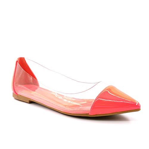 Angkorly - Damen Schuhe Ballerina - Flache - Slip-On - BCBG - Lackiert - transparent PVC Plexiglas - Kunststoff Blockabsatz 1 cm - Fushia LX-58 T 39