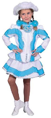narrenkiste O5194-164 türkis-weiß Kinder Funkemariechen-Tanzmariechen Kostüm-Uniform Gr.164