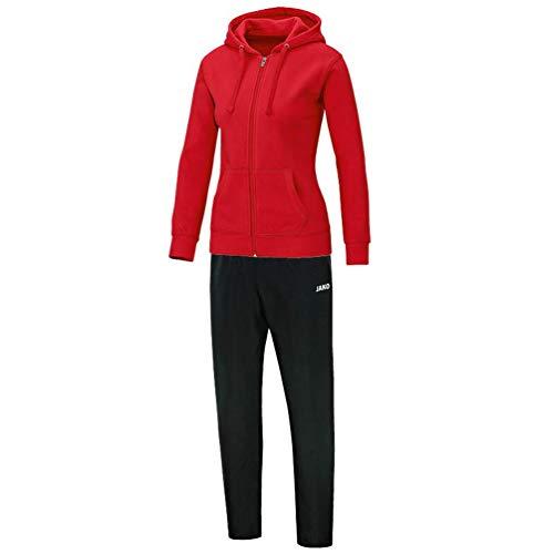 JAKO Damen Jogginganzug Freizeit Team mit Kapuze, rot, 38, M9733