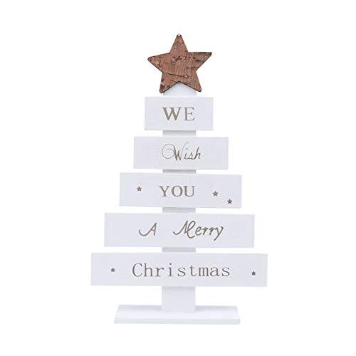 Amosfun Mini Alberi di Natale Decorazioni Natalizie in Legno centrotavola di Natale per Cena