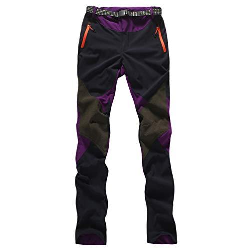 Haobing Mujer Pantalones de Escalada con cinturón Pantalones de Trekking Softshell Pantalón de Acampada y Marcha (#2 Morado, CN L)