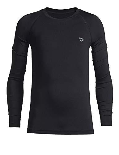 BALEAF Camiseta térmica de compresión para niños y jóvenes, con capa base de forro polar, manga larga, cuello redondo