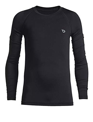 BALEAF Youth Boys'/Girls' Thermal Compression Sports Shirts Long Sleeve Fleece Base Layer Crew Neck Black Size M
