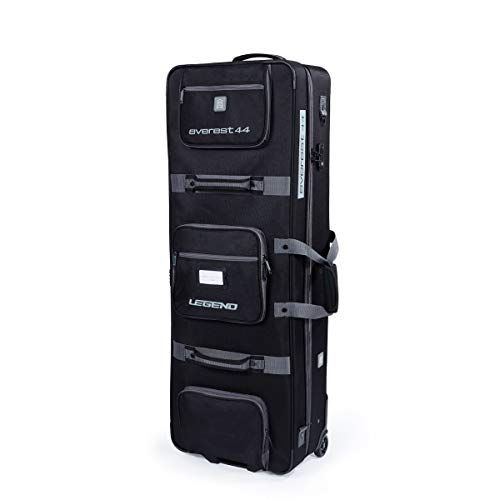 Legend Everest Hybrid Roller Bow Case - Compound Archery Gear Rolling Travel Bag - Compact, Airline-Approved, TSA Lock, Metal Frame, Thick Safety Padding, Extra Pockets - 44 Inches Inside, Black