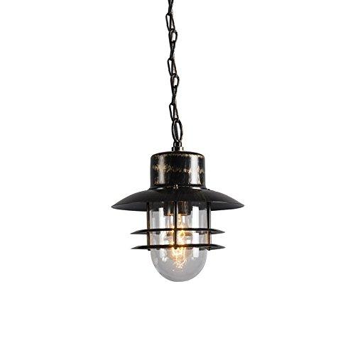 QAZQA Klassisch/Antik/Landhaus/Vintage/Rustikal Retro Hängelampe Bronze - Muschel/Außenbeleuchtung Glas/Edelstahl Rund LED geeignet E27 Max. 1 x 60 Watt