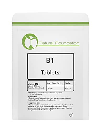 Vitamin B1 Tablets 100mg High Strength 100% Essential Vitamins Thiamin Thiamine Supplement for Energy, Metabolism & Nervous System Health| Natural Foundation Supplements (250)