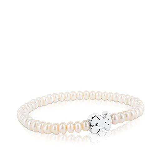 TOUS Sweet Dolls - Pulsera elástica de plata 925 con perla cultivada en agua dulce blanca de 5 mm