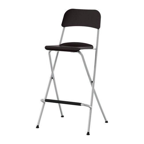 Ikea Franklin - Sgabello da bar con schienale pieghevole, colore: marrone/nero e argento