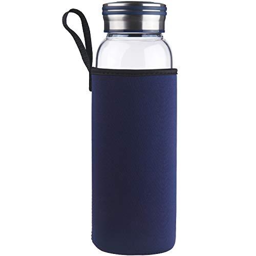 Cleesmil Sport Trinkflasche Glas, Wasserflasche Glas BPA Frei Glasflasche 1 Liter / 1 L (Blau)