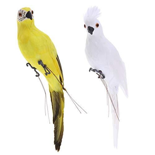 D DOLITY 2 Pezzi Realistico Pappagallo Uccello Statue Figure Ornamento Appeso Decorative Giardino Puntello Foto - Giallo Bianco, 35x10x9cm