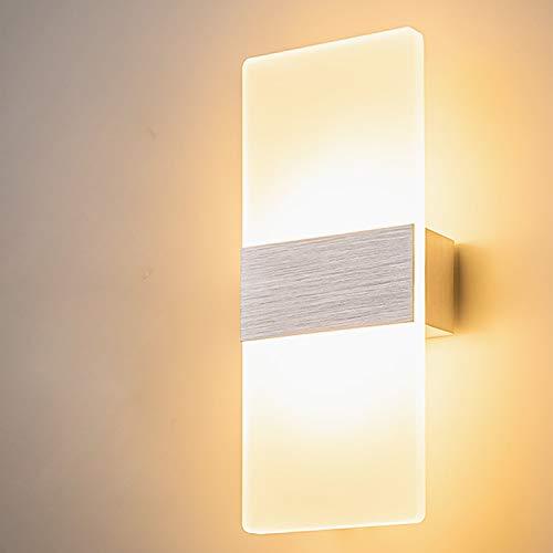 Yafido Applique da Parete Interno Moderno LED Lampada Bianco Caldo da parete 12W AC 220V Argento Spazzolato per Camera da Letto Soggiorno Corridoio Bagno Scale