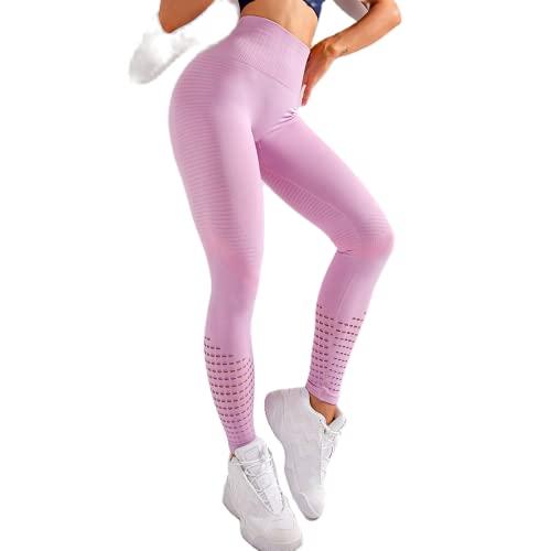 QTJY Pantalones de Yoga para Mujer Pantalones de chándal para Correr de Secado rápido elásticos de Moda Medias de Celulitis para Levantamiento de Cadera de Cintura Alta D L