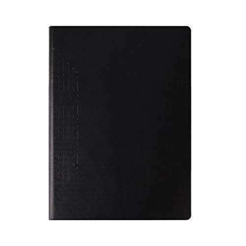Cuadernos de diario en blanco de papel rayado plan Papelería Business Notebook A4 Bloc de notas negro Grueso Extra grande Oficina de negocios Libro de registro Cuero suave Paquete de trabajo escolar D
