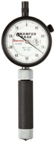 Starrett 684-1Z Inch Reading Internal Chamfer Gauge, 90-127 Degree Angle, 0-3/8