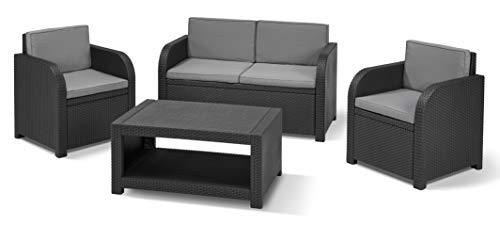 Keter Modena Garden Furniture Lounge Set Juego de Muebles de jardín, Grafito con Cojines Grises