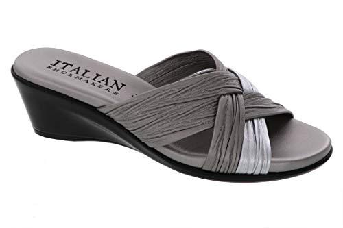ITALIAN Shoemakers Womens Saylor Wedge Sandal (9 M US, Pewter Multi)
