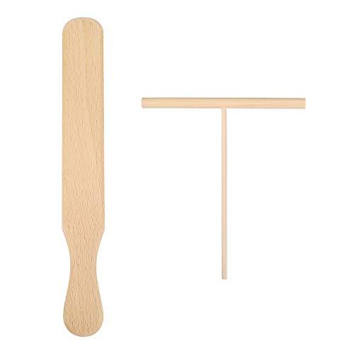 Cabilock Teigverteiler Crepes Verteiler Holz Spatel Crepes Palatschinken Maker Herstellung Set Küchenutensilien Kochzubehör Küchenhelfer Restaurant Zuhause