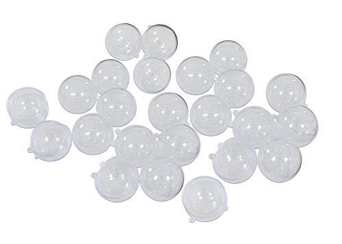 Unbekannt Acrylglaskugeln, 24 Stück, Bastelspaß Schule Kinder Kindergarten Glaskugeln Acryl Geschenkidee, Befüllen, Bemalen, Gestalten, bspw. als Adventskalender, inkl. Öse zum Aufhängen