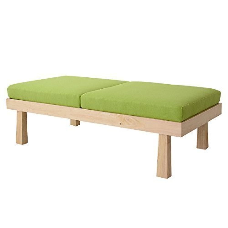香港モック小道具DORIS スツール ベンチソファ 2人掛け 座面裏天板 テーブル 組立式 グリーン バンビー2P