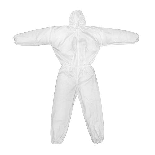 Protective Coverall, XX-Large White, Elastic Ankle and Waist, Breathable SMS 45g, Hazmat Suit with Durable Zip and Drop Crotch, Disposable Isolation Gown Attached Hood, Syntrue 1PC