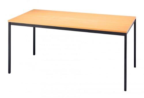Unbekannt Konferenztisch mit Vierkant-Rohr Vektor 160 x 80cm Buche/Schwarz