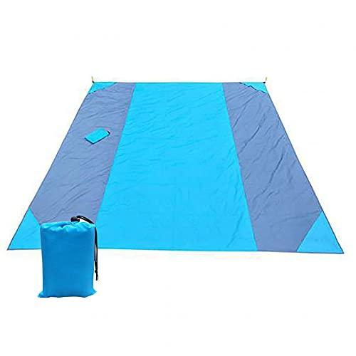 URJEKQ Alfombras de Playa 300x280 cm Manta de Picnic Impermeable Portátil y Ligero Alfombras de Picnic para la Playa Acampar Picnic y Otra Actividad,Azul