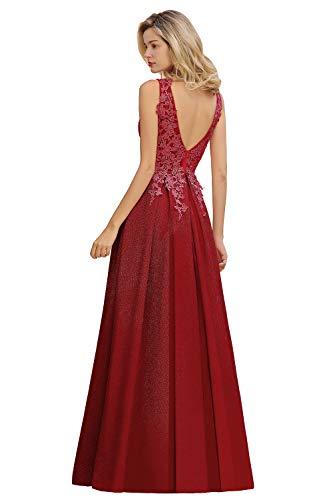 MisShow Damen elegant V Ausschnitt Spitzen Applique Abendkleider Ballkleider Abschlusskleider Maxilang Kleider Weinrot 32
