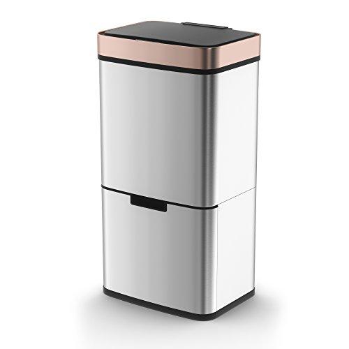 Morphy Richards–Cubo de Basura con Sensor con 2Compartimentos, 75l-Rose Dorado, Acero Inoxidable, 31,5x 42x 82,5cm
