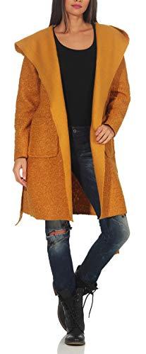 Malito Damen Wollmantel kurz | Boucle Wool | Trenchcoat mit Kapuze | weicher Dufflecoat | Parka - Jacke 9320 (gelb)
