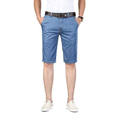 Pantalones Cortos de Mezclilla para Hombre Pantalones Cortos de Mezclilla Delgados Rectos Sueltos Finos de Verano Pantalones Cortos de Mezclilla Informales de Negocios 38