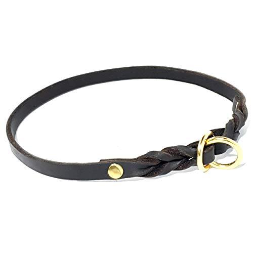 SK9 Collar de Cuerro Natural Tratado en Varias Etapas, Corrector de Comportamiento, 10 mm de Ancho (45 cm, MARÓN Oscuro)