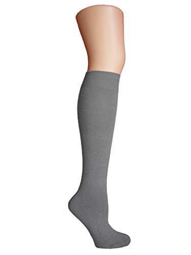 Chapini®, kniehohe Socken für Damen & Mädchen, aus weicher Baumwolle, einfarbig, Größe: 37 - 42 Gr. Einheitsgröße, Soft Grey